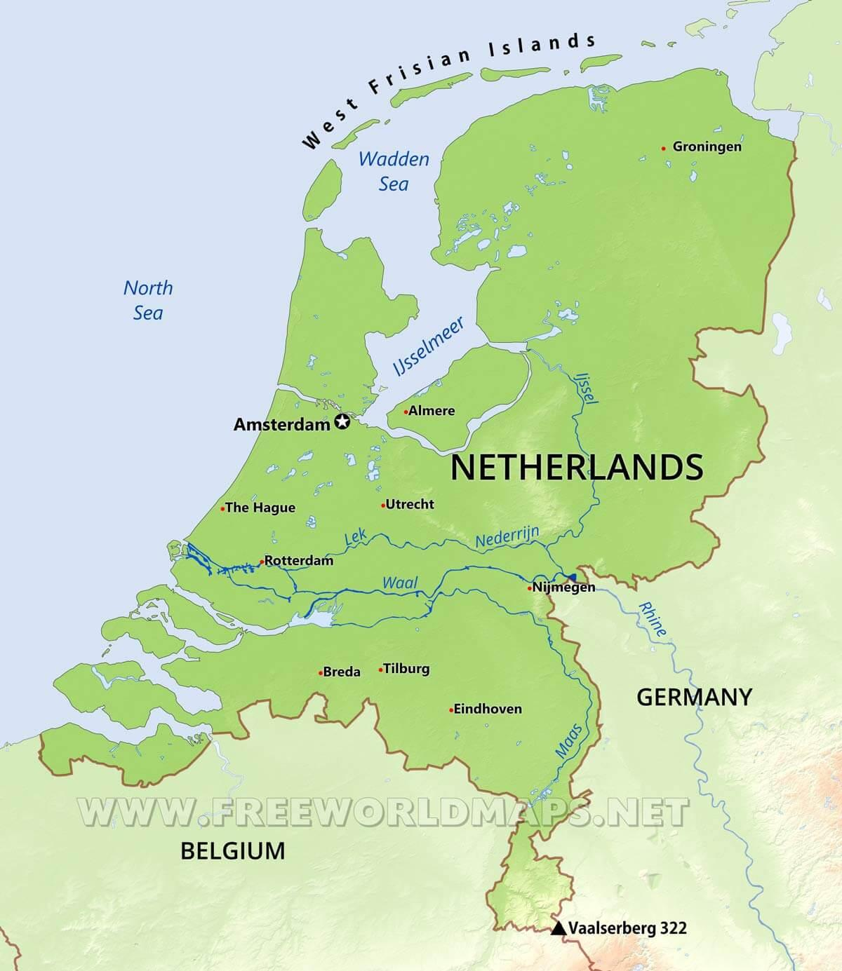 Holland Geografi Kort Holland Geografi Kort Det Vestlige Europa