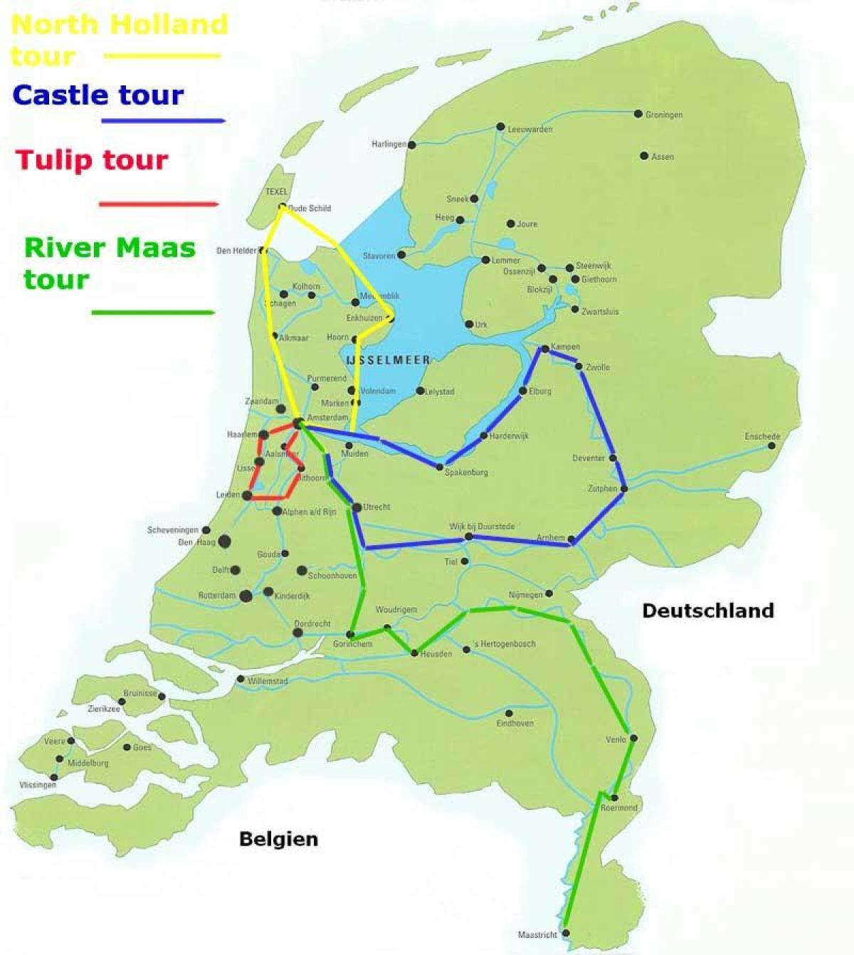 Holland Er Cykling Kort Kort Over Cykelruter I Holland I