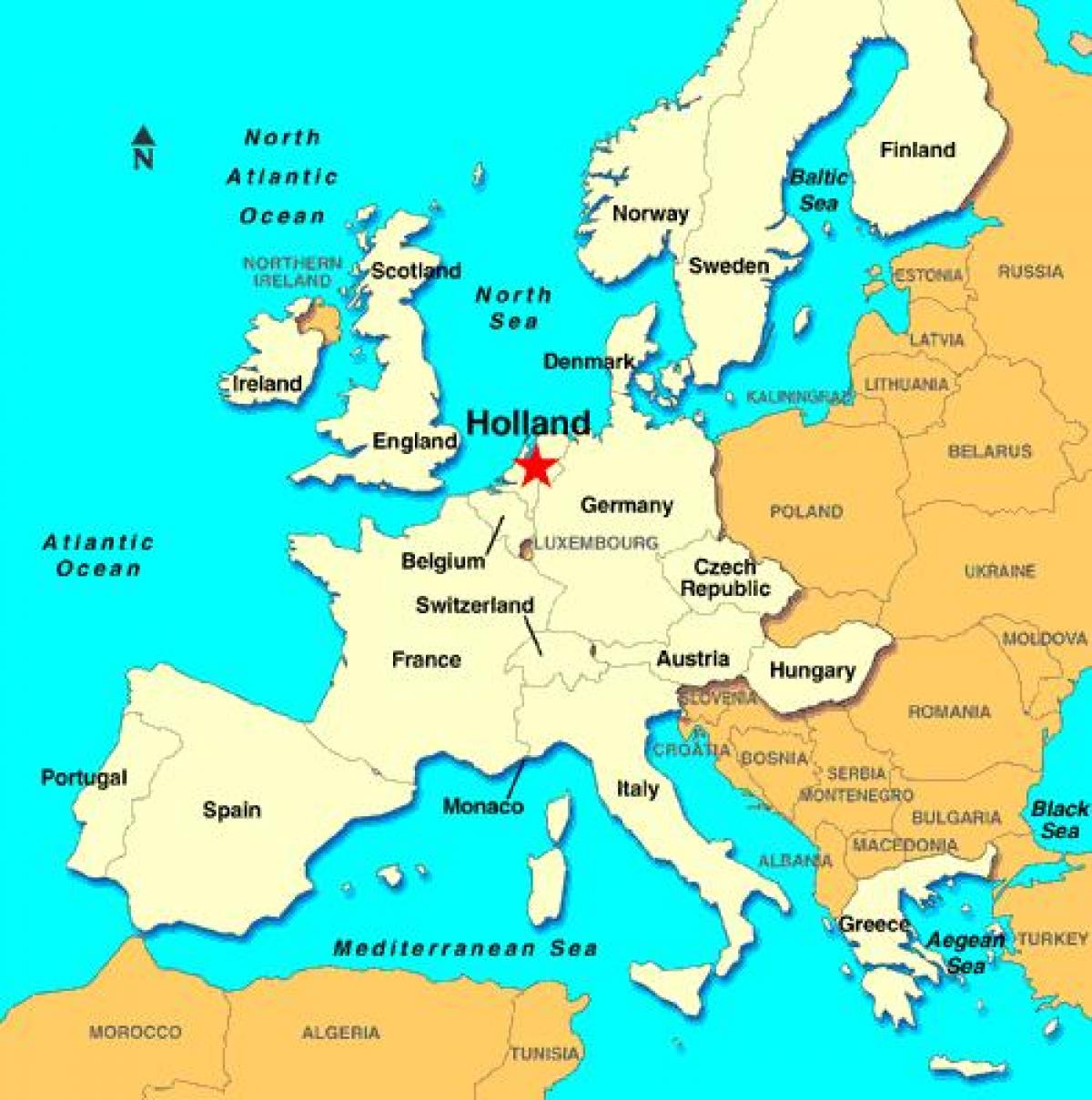 Holland Kort Europa Kort I Holland Europa Det Vestlige Europa