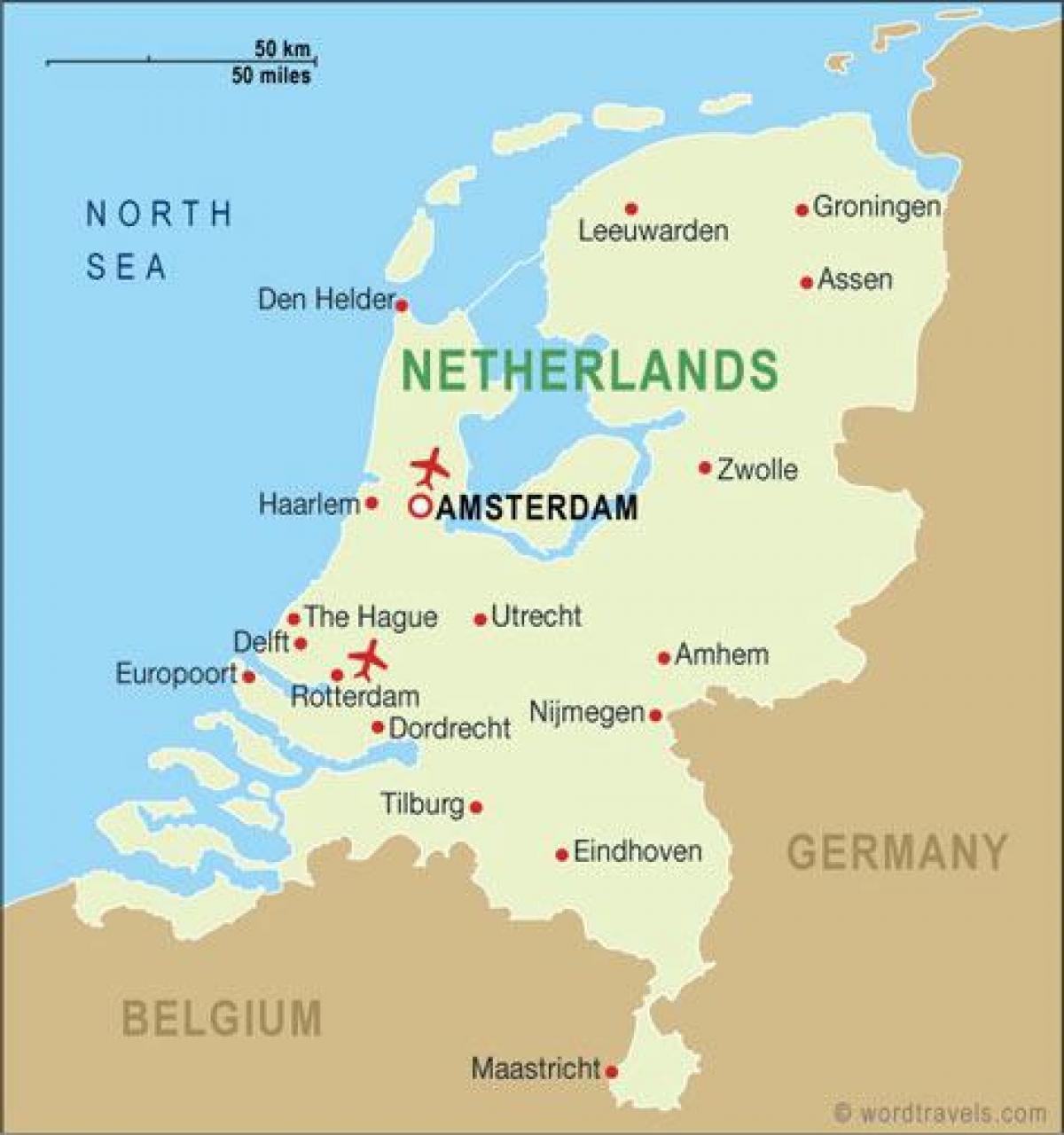 Holland Lufthavne Kort Lufthavne I Holland Kort Det Vestlige