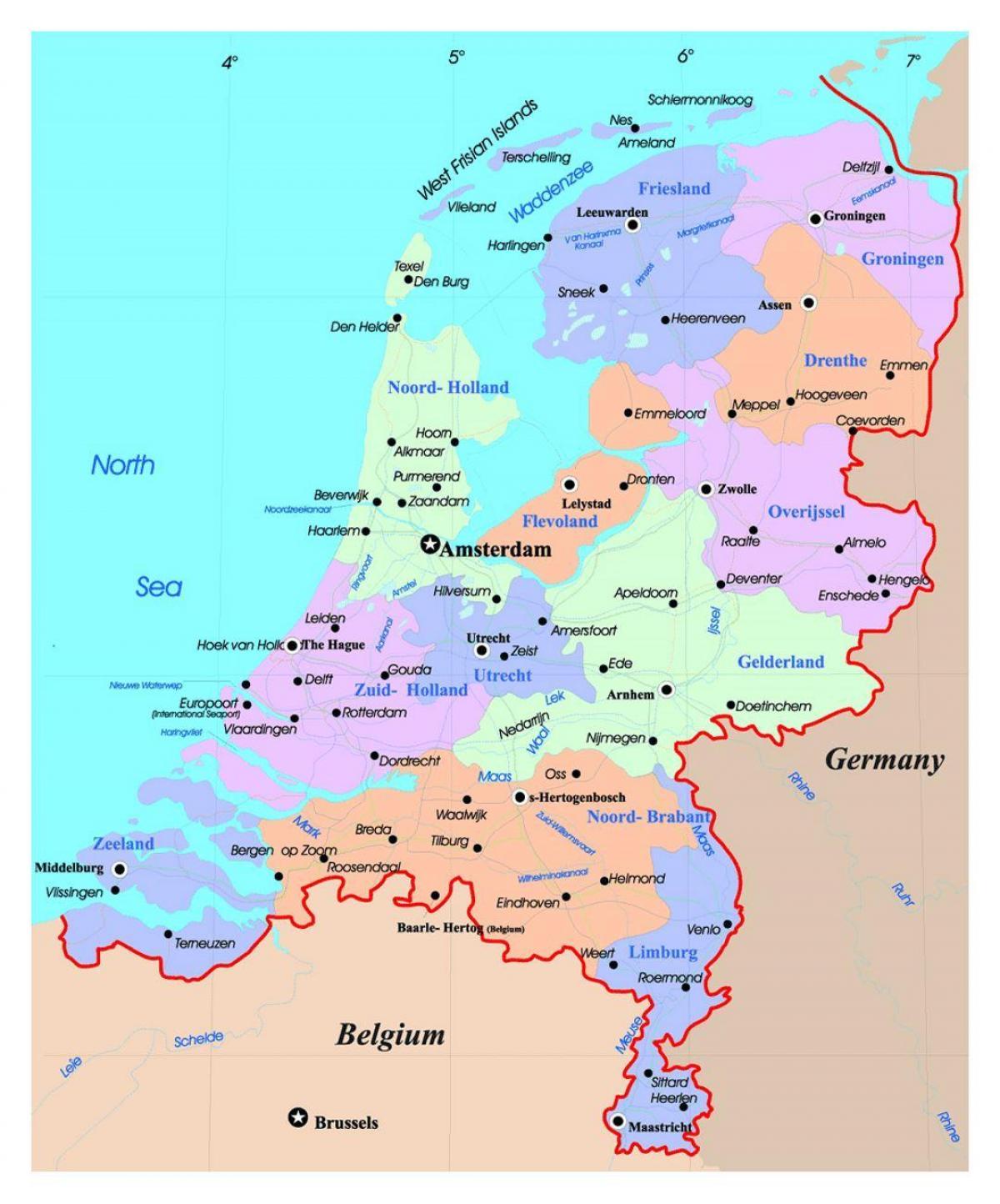 Kort Holland Holland Pa Kort Det Vestlige Europa Europa