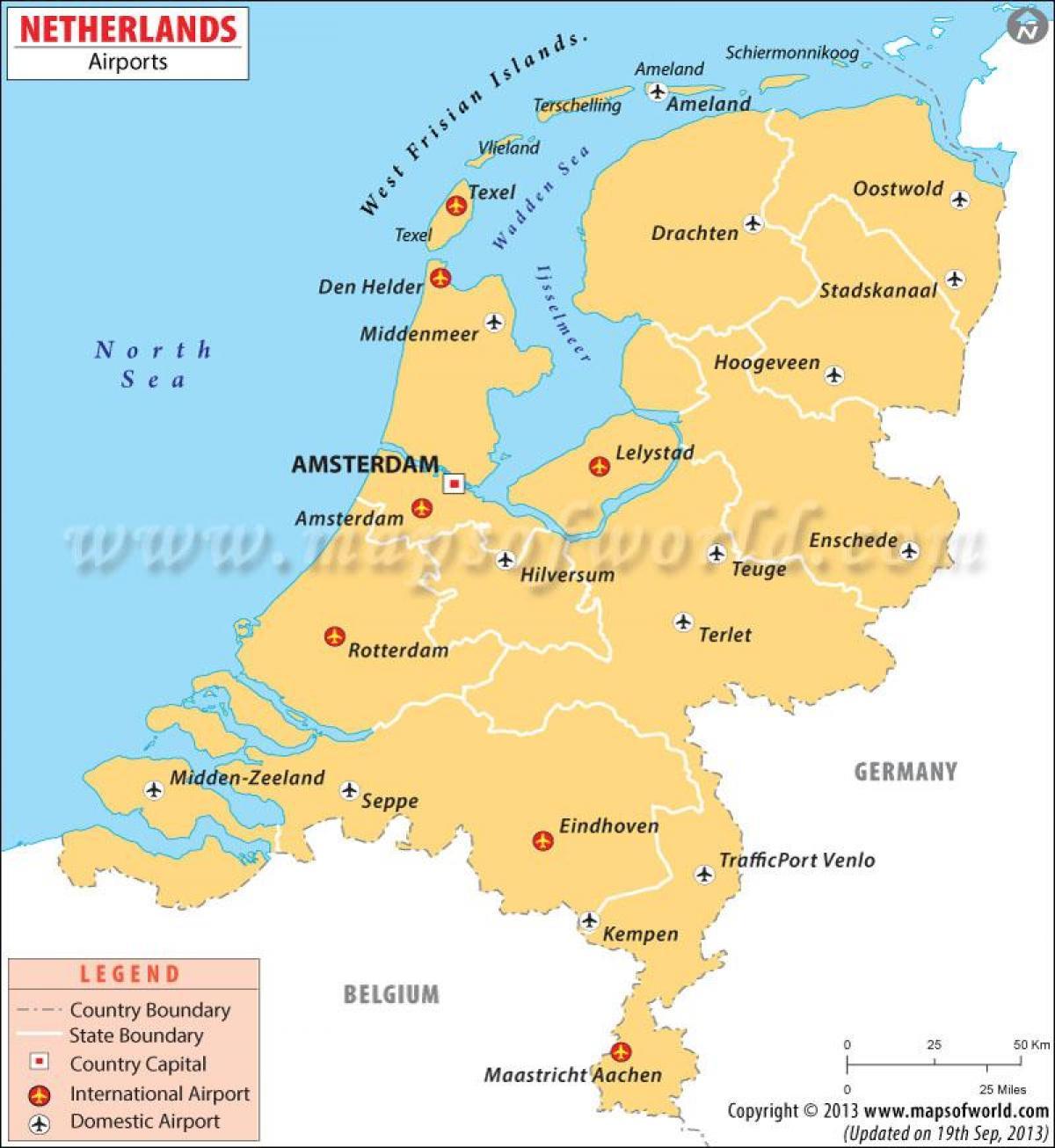 Lufthavne I Holland Kort Lufthavne I Holland Kort Det Vestlige